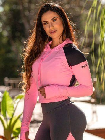 OXYFIT Activewear Cropped Reverse Long Sleeve Hoody – Rosa