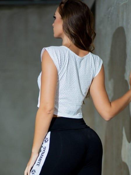 DYNAMITE BRAZIL Top Cropped Raglan - White
