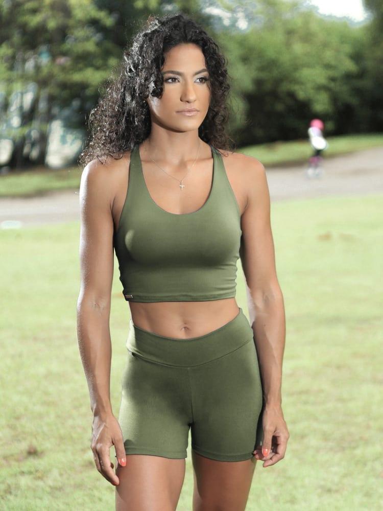 Dynamite Brazil Liberty Sports Bra Crop Top - Green Moss