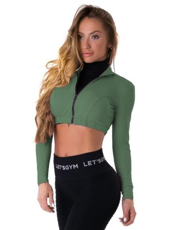 Let's Gym Fitness Cropped Style Trend Top – Green
