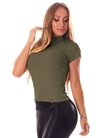 BLet's Gym Blusa Canelada Fluid Ribbed Top – Military Green