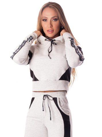 Let's Gym Cropped Fashion Sport Hoodie Top – Light Melange