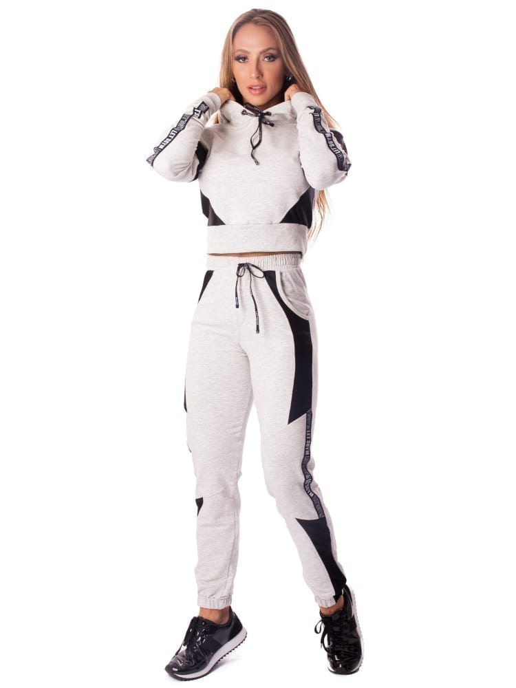 Let's Gym Cropped Fashion Sport Hoodie Top - Light Melange