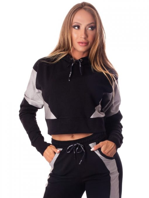 Let's Gym Cropped Fashion Sport Hoodie Top - Black
