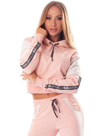 Let's Gym Cropped Fashion Sport Hoodie Top – Rose