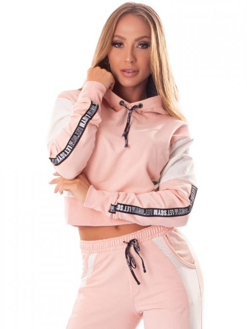 Let's Gym Cropped Fashion Sport Hoodie Top - Rose