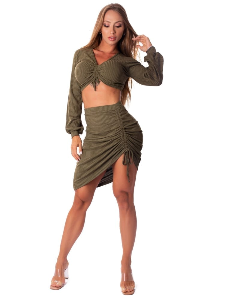 Let's Gym Fitness Cropped Canelado Lux and Power - Military Green