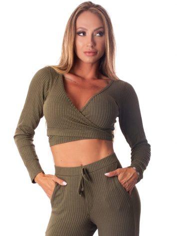 Let's Gym Fitness Cropped Bolero Canelado Fluid – Military Green