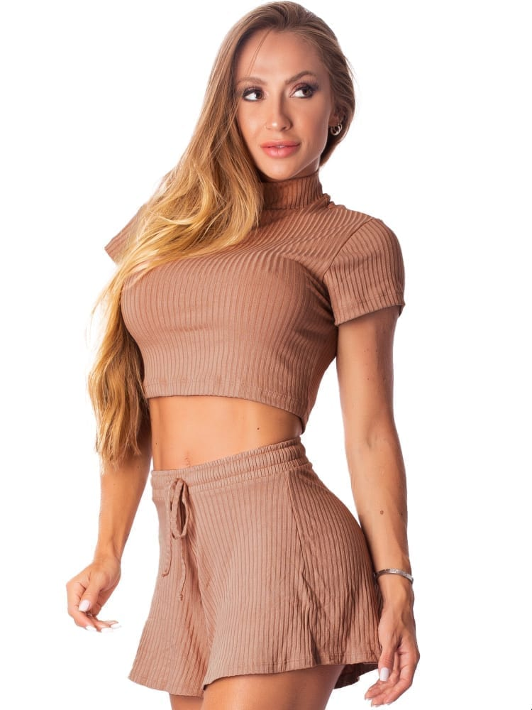 Let's Gym Fitness Cropped Canelado Fluid - Nude