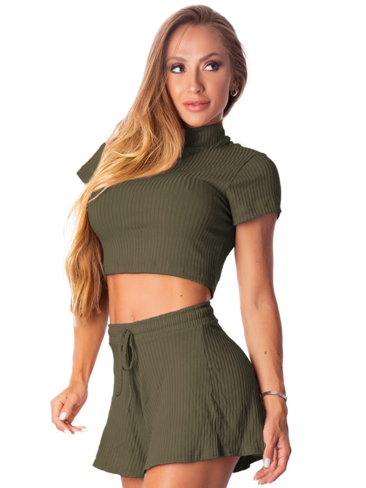Let's Gym Fitness Cropped Canelado Fluid - Military Green