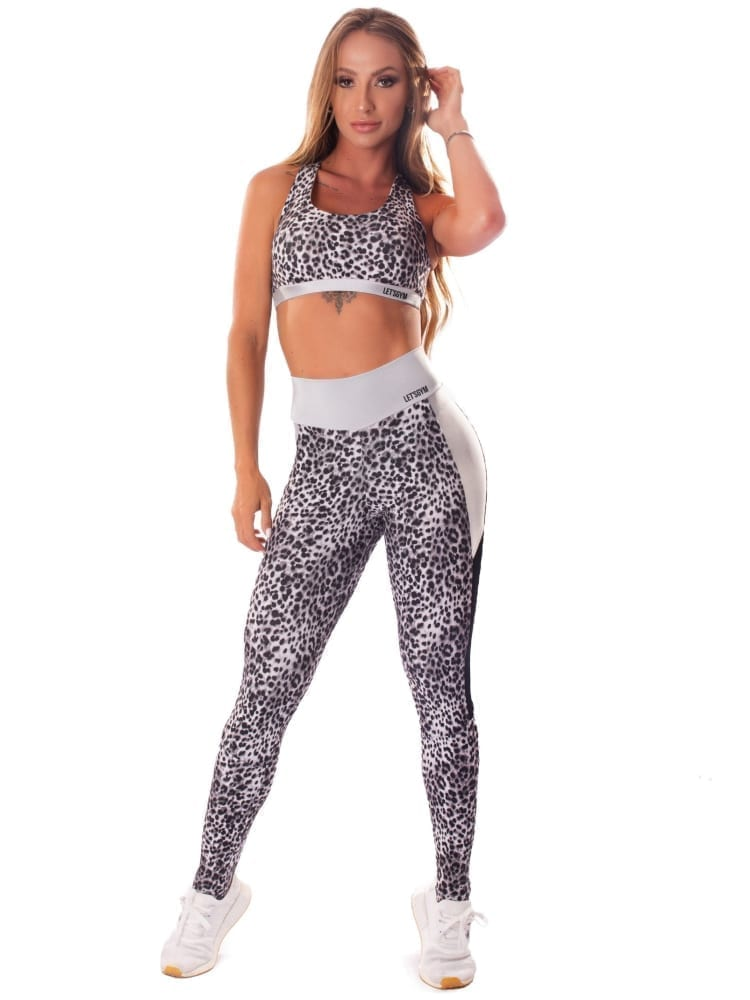 Lets Gym Fitness Cheetah Power Sports Bra - Silver