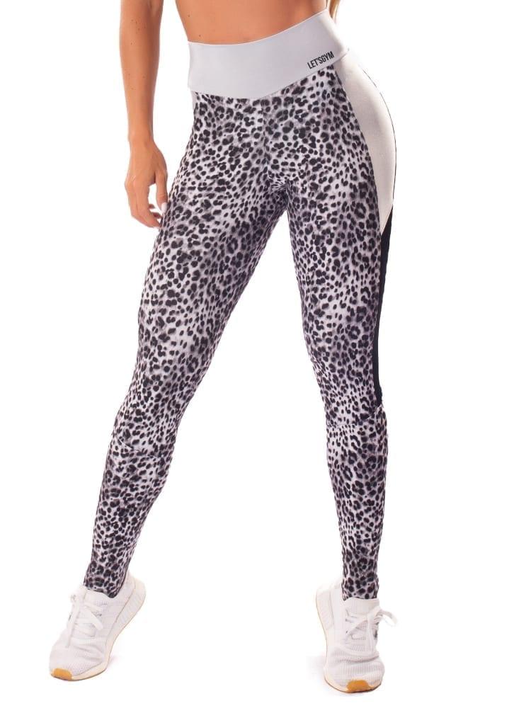 Let's Gym Fitness Cheetah Power Leggings - Silver