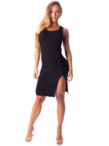 Let's Gym Fitness Vestido Canelado Lux and Power – Black