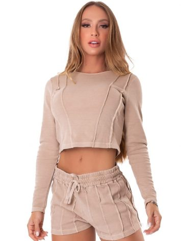 Let's Gym Fitness Cropped M/L Lines – Nude