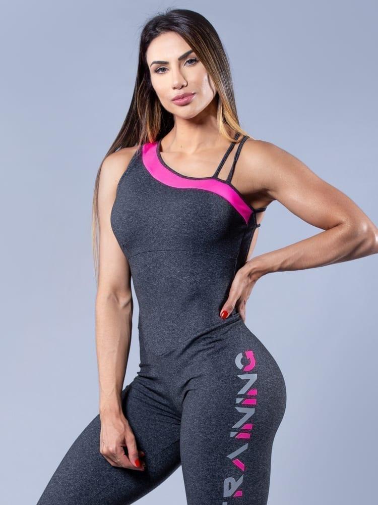 OXYFIT Activewear Jumpsuit Training 1 piece - Heather Grey/Pink