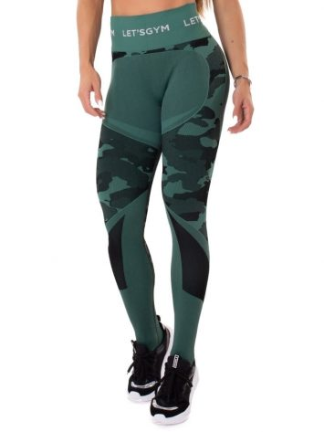 Let's Gym Fitness Seamless Camo Love Leggings – Military Green