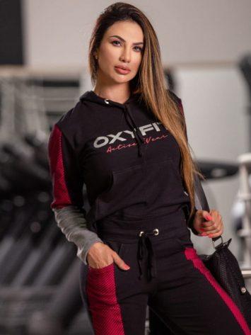 OXYFIT Activewear Blouse Still Long Sleeve Hoody – Black/Fuscia/Grey