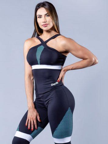 OXYFIT Activewear Jumpsuit Active 1 piece – Black/Aqua/White