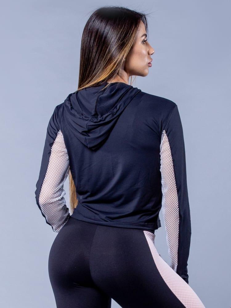 OXYFIT Activewear Glam - Long Sleeve Hoody Sports Jacket - Black/White