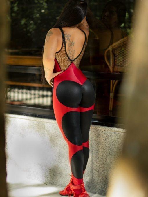 DYNAMITE Jumpsuit Apple Booty Carmine - Black w/Red