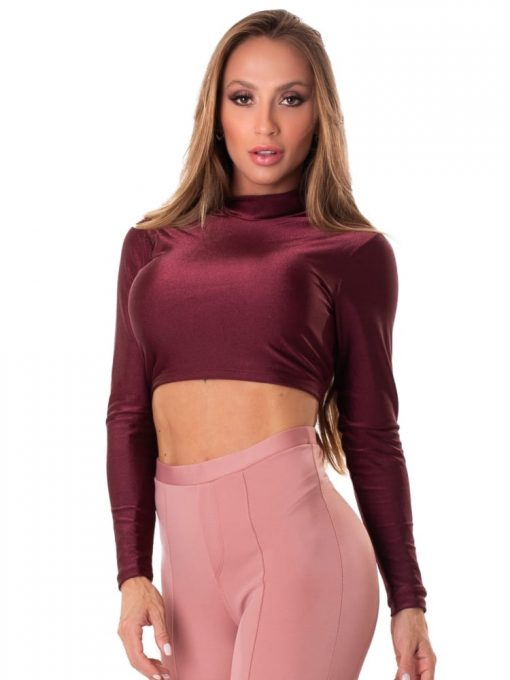Let's Gym Fitness Cropped Backtie Glow Top - Burgandy