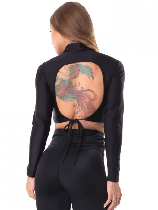 Let's Gym Fitness Cropped Backtie Glow - Black