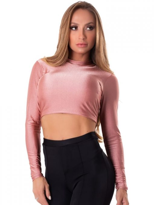 Let's Gym Fitness Cropped Backtie Glow Top - Rose