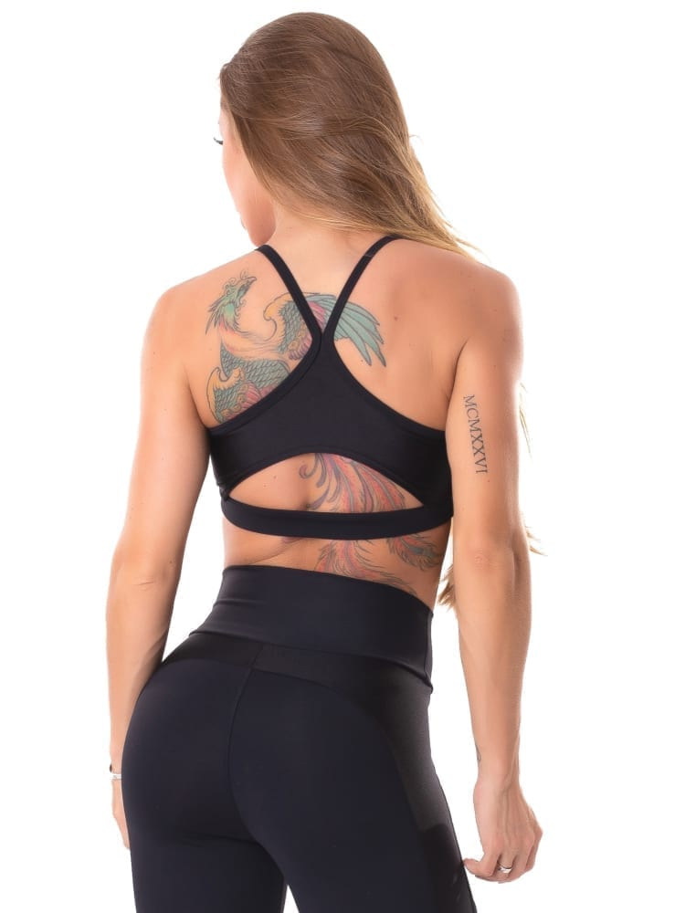 Lets Gym Fitness Delicate Sports Bra Top - Black