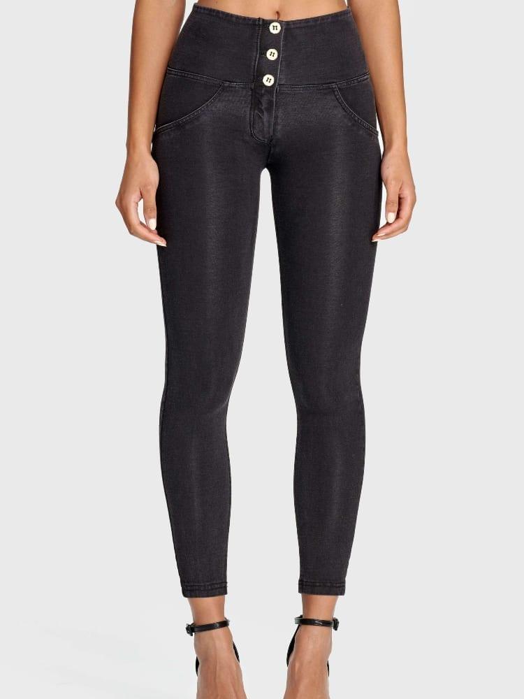 Freddy WR.UP® Denim - 3 Button 7/8 Length - High waist - St. Blue - Black