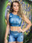 DYNAMITE Brazil Cropped Blouse - Velvet Blue
