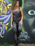 Dynamite Brazil Jumpsuit Macacao Paint-it-black - Black Lightning Bolt
