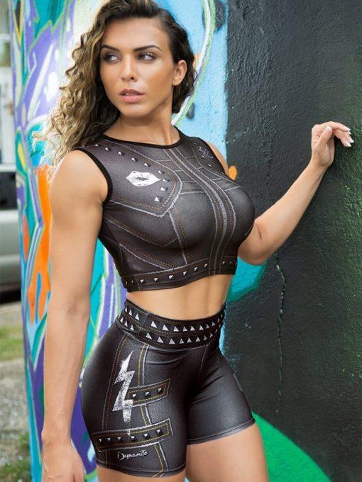 DYNAMITE Brazil Cropped Blouse Paint-it-black - Black Lightning Bolt