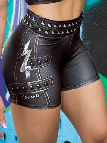 DYNAMITE BRAZIL Shorts SH400 Paint-it-black- Black Lightning Bolt