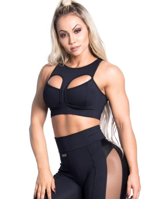 Trincks Fitness Activewear Woman Sports Bra Top - Black