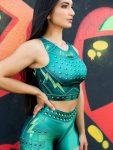 DYNAMITE Brazil Cropped Blouse Million Dollar Secret - Lime-Green