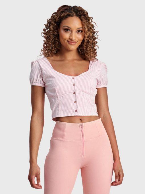FREDDY WRUP Pinstripe Cropped - Pink