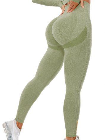 BFB Scrunchie Seamless High Waisted Leggings – Green