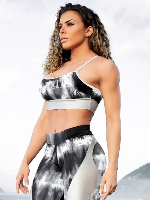 Dynamite Brazil Sports Bra Top Swimmer Top - Marble Silver