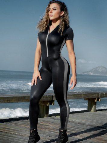 DYNAMITE Jumpsuit Argintus Fitness – Black Silver