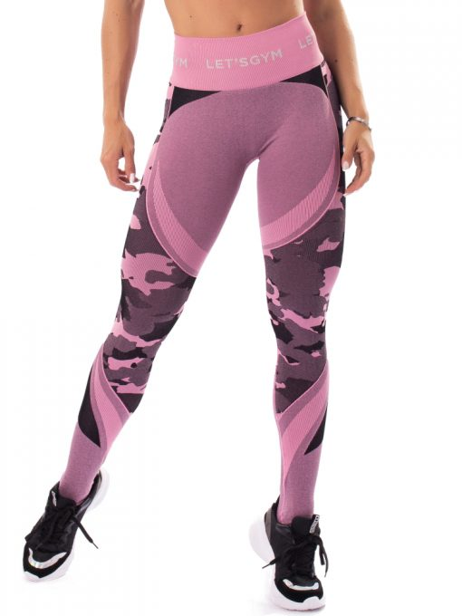 Let's Gym Fitness Seamless Camo Love Leggings - Pink