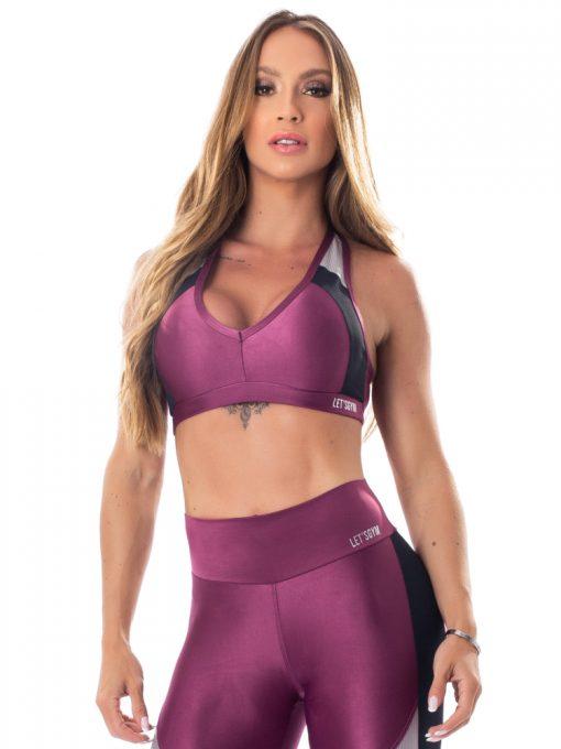 Lets Gym Fitness Glowing Secrets Sports Bra Top - Purple