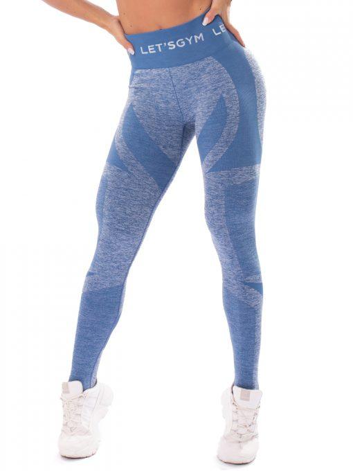 Let's Gym Fitness Seamless Diamond Leggings - Blue