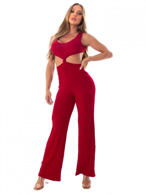 Let's Gym Fitness Knot Ribbed Jumpsuit - Red