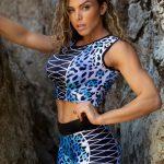 DYNAMITE Brazil Cropped Blouse Jaguar - Blue